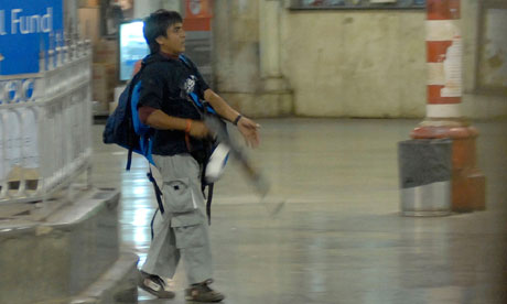 The terrorist Ajmal Amir Kasab in Mumbai during the 2008 attacks