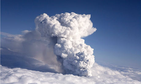 Smoke and ash billows from a volcano in Eyjafjallajokull, Iceland