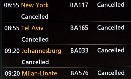 A departures board at Heathrow shows flights cancelled due to volcanic ash from Iceland