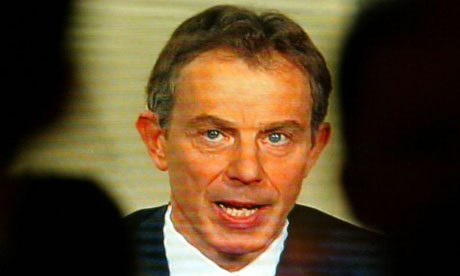 Tony Blair, 2010 Liberty Medal winner, addresses the nation at the start of the Iraq war in 2003. Photograph: Paul McErlane/Reuters