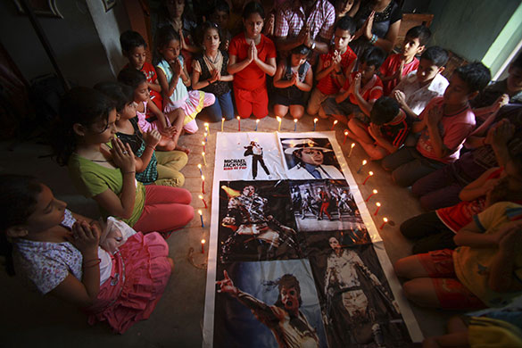Michael Jackson memorials: Michael Jackson fans light candles on 
