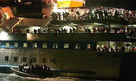 Israeli navy commandos intercept the Mavi Marmara on its way to break the Gaza blockade