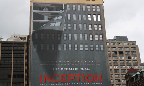 A poster for Inception on the side of a building in New York City. Photograph: Paul Owen