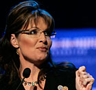 Kinda sinister: Sarah Palin and her trademark glasses.