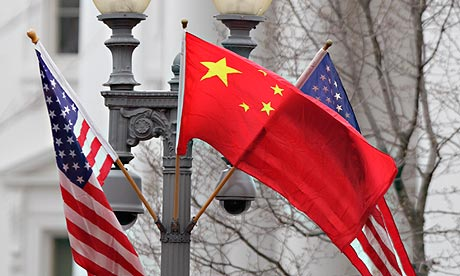 US and Chinese flags in front of the White House