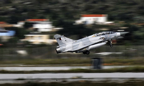 A Qatari Mirage 2000 jet takes off