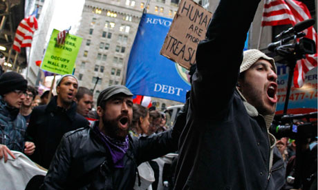 Occupy Wall street demonstrators protest near the New York Stock Exchange
