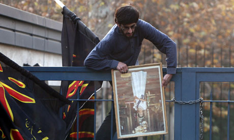 Iranian UK embassy stormed, Queen's picture looted