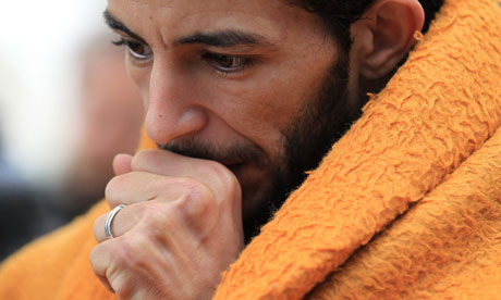 An immigrant on hunger strike in Athens, Greece, March 2011
