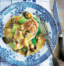 Chicken with morels and sherry wine sauce
