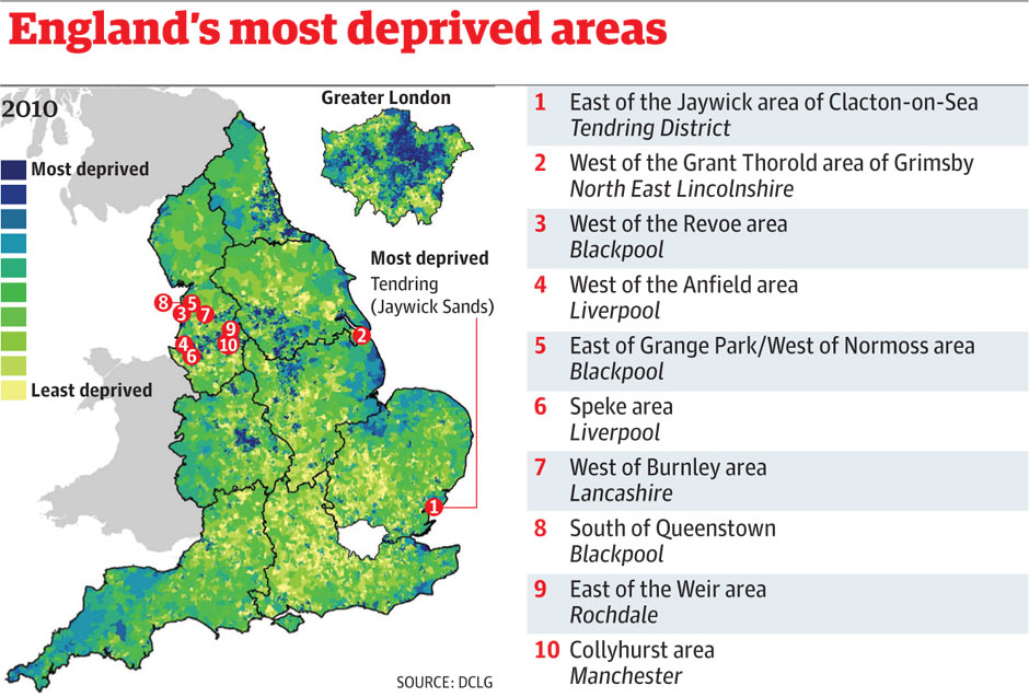 Indices of multiple deprivation: the worst places