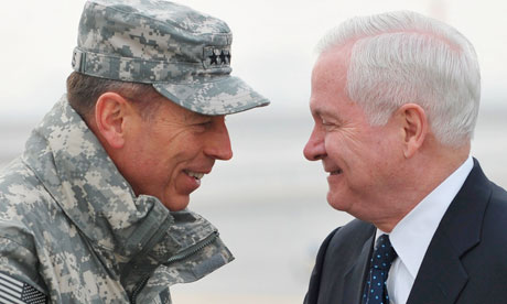 General David Petraeus, commander of US and Nato forces in Afghanistan, greets Robert Gates
