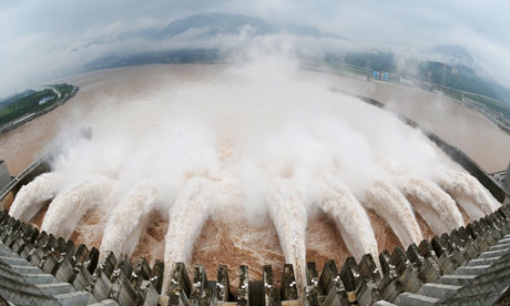 Water being released from the Three Gorges Dam in  central China's Hubei province