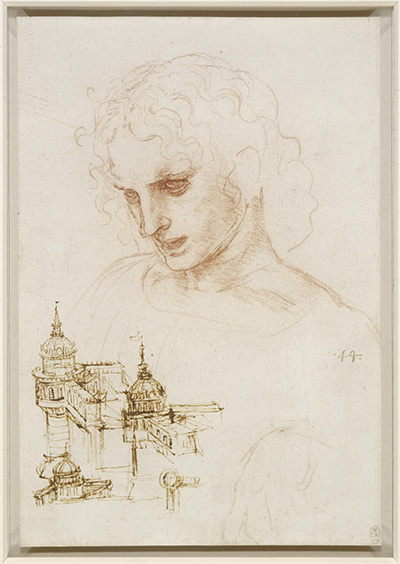 Leonardo da Vinci, 'Sketch of a Youth (used for the Head of Saint James) with Designs for Fortifications,' ca. 1492-4, ink.