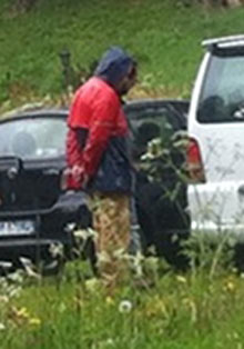 One of the two men arrested at Bilderberg. Photograph: Adrian Gatton