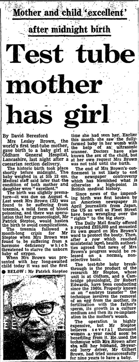 1978: The first test tube baby | From the Guardian ...