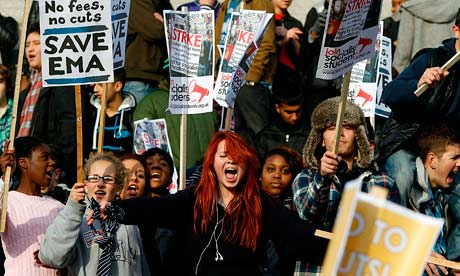 students protest against government cuts