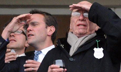 James and Rupert Murdoch at Cheltenham
