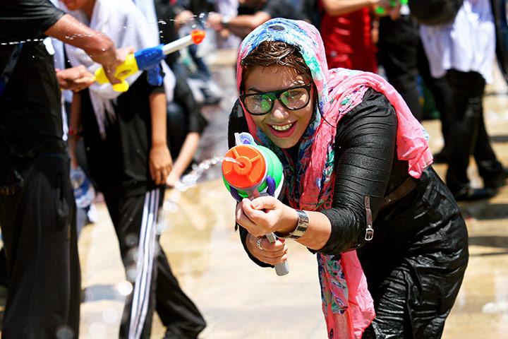 Water gun festival: Girls at the water gun festival in Tehran