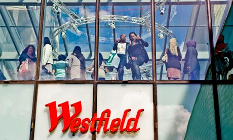 People looking out from Westfield Shopping Centre