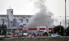Smoke rises after a shell hit Akcakale