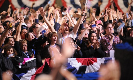 Supporters of US president Barack Obama celebrate victory in Chicago, Illinois.