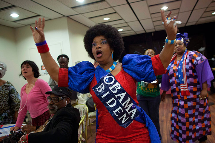 Election celebrations: A woman reacts as election results are broadcast