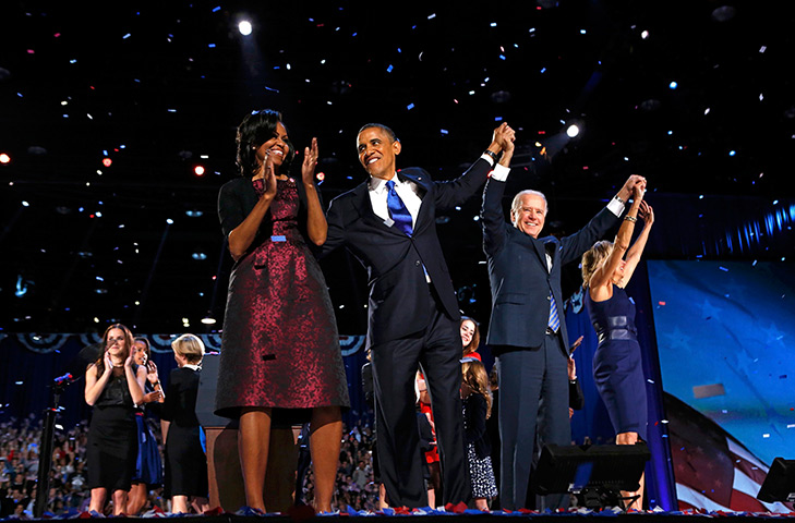 US reaction: Obama and Biden celebrate after election speech