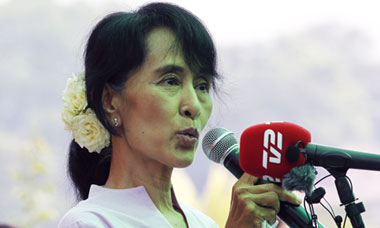 Aung San Suu Kyi before parliamentary elections