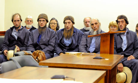 Amish suspects wait to make threir pleas in court in Millersburg, Ohio