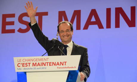Socialist party presidential candidate Françcois Hollande