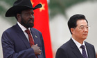 South Sudan's president, Salva Kiir, with his Chinese counterpart, Hu Jintao, in Beijing