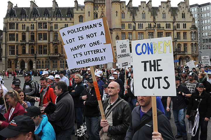 Public Sector strikes: Police protest against cuts in funding, London, Britain - 10 May 2012