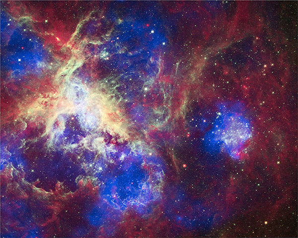 A month in space: A massive star-forming region located about 160,000 light years away.