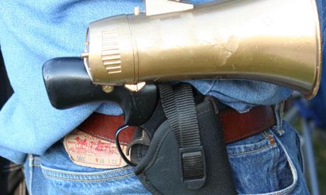 Bilderberg 2012: bullhorn gun