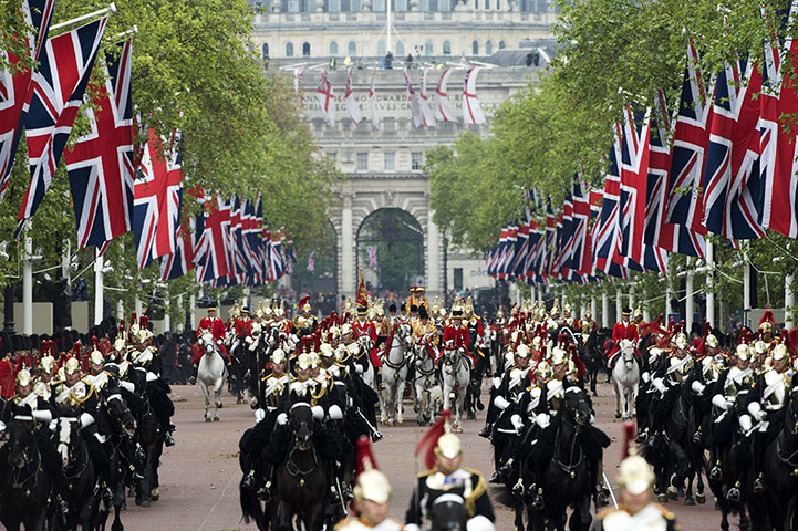 Jubilee celebrations: Horses ride down the Mall during the carriage procession