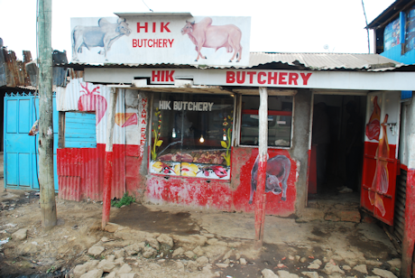A butcher's shop in Kibera