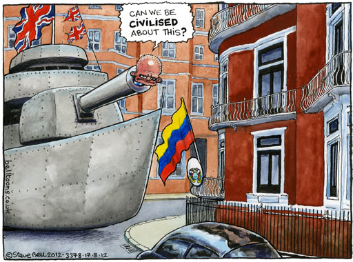 17.08.12: Steve Bell on the diplomatic row over Julian Assange