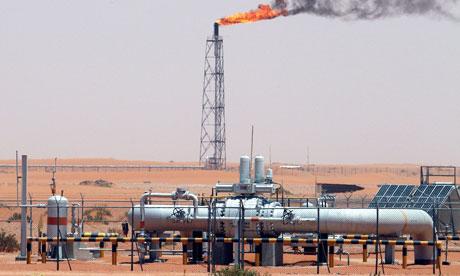 Saudi Aramco facilities in the desert at Khurais oil field