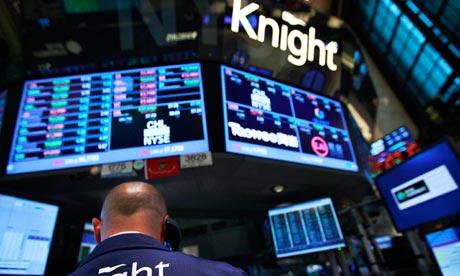 El quiosco de Knight Capital en el piso de la Bolsa de Nueva Yor. Fotografía Brendan McDermid / Reuters
