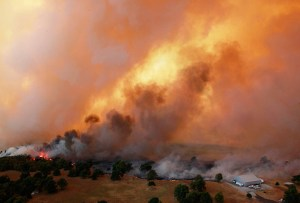 Oklahoma wildfires: Flames burn near Highway 48 and HW 38 junction east of Drumright