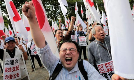 Japanese protesters oppose China's claim on the disputed islands