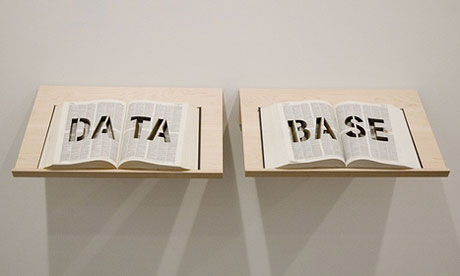 Data Base (sculpture). Words cut into an Oxford English Dictionary using a laser