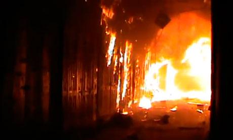 Aleppo souk on fire