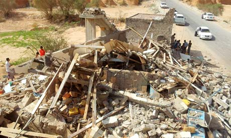 House in eastern Yemen destroyed by US drone strike, 2 September 2012