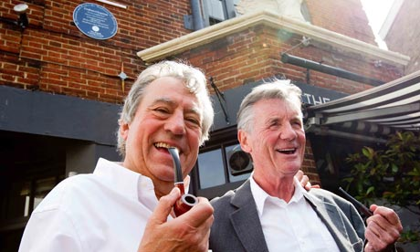 Terry Jones and Michael Palin at the unveiling of the Graham Chapman blue plaque