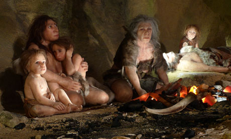 An exhibit shows the life of a neanderthal family in the Neanderthal Museum in Krapina, Croatia