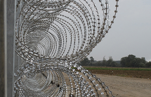Anti-migrant barbed wire fence in Evros, Greece