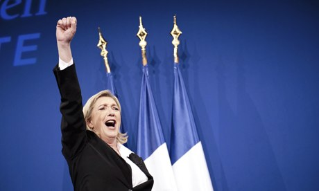 Marine Le Pen, leader of France's National Front. Photograph: Etienne Laurent/  Etienne Laurent/Xinhua Press/Corbis