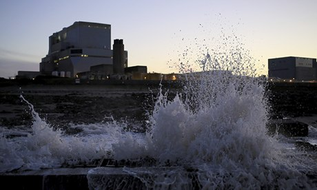 Water sprays up as it is pumped out of Hinkley Point nuclear reactor in Somerset